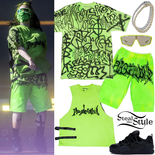 Billie Eilish Neon Green Tee And Bermudas Steal Her Style