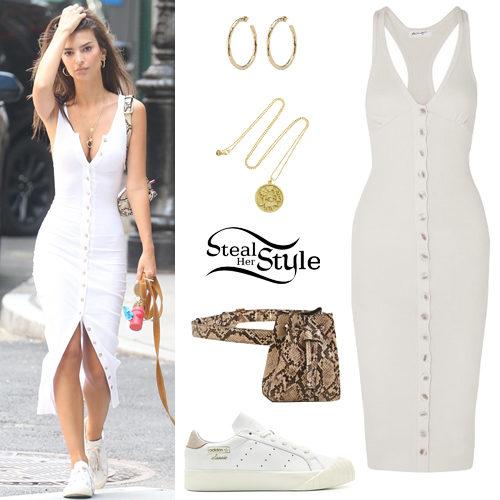 Emily Ratajkowski: White Button Dress