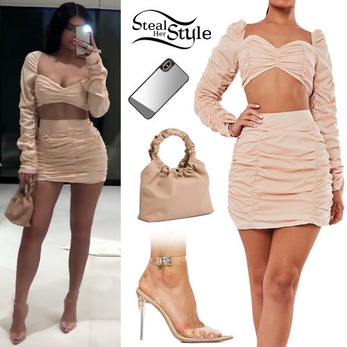 Kylie Jenner Ruched Crop Top And Skirt Steal Her Style