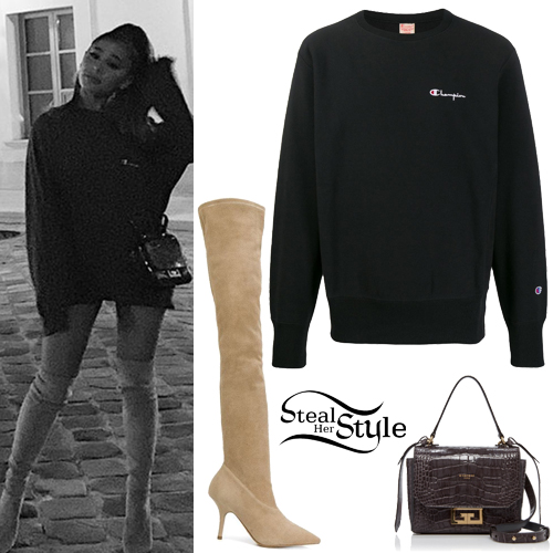 ariana grande black sweatshit suede boots  steal her style
