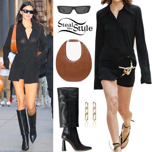 Kendall Jenner: Black Shirt Dress and