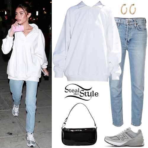 madison beer white sweatshirt blue jeans  steal her style