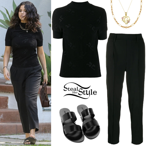 selena gomez black tshirt and pants  steal her style