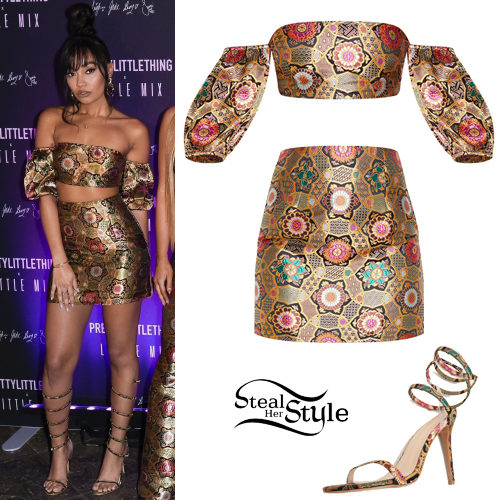 Leigh-Anne Pinnock Floral Jacquard Top and Skirt  Steal Her Style