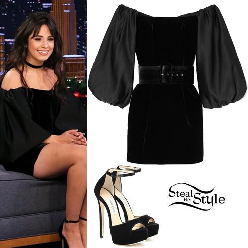 Camila Cabello Black Velvet Dress Platform Shoes Steal