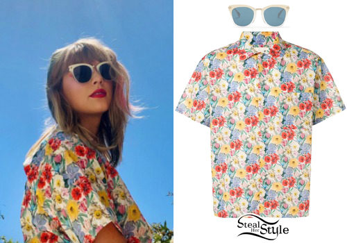Taylor Swift Round Sunglasses Floral Shirt Steal Her Style