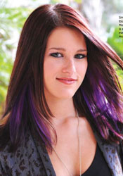 Brown Hair with Purple Highlights