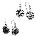 Target Rhodium 2 of Set Beaded Artisan Crystal and Open Cut Work Drop Earrings - Silver/Black