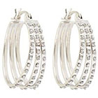 Diamond Flare Sterling Silver Earrings with Accents - White