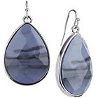 Target Rhodium Faceted Teardrop Stone Drop Dangle Earrings - Silver/Blue