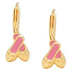 Target ELLEN 18k Gold Overlay Enamel Children's Ballet Slippers Leverback Earrings - Pink