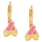 Target ELLEN 18k Gold Overlay Enamel Children's Ballet Slippers Leverback Earrings - Pink