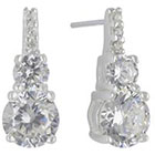 Target Drop Earrings in Sterling Silver Set of 2 with Pave Cubic Zirconia Wire - Silver and Clear