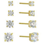 Target Cubic Zirconia Set of 4 Round Stud Earrings with 14k Gold Plating in Sterling Silver - Gold