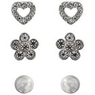 Target Set of 3 Stud Earrings with Stones - Silver