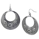 Target Medium Disc with Embellishment Earrings - Oxidized Silver