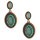 Target Drop Beaded Earrings - Gold/Green