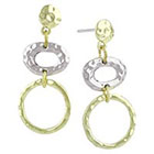 Target Drop Earrings with Hammered Two Toned Double Circle Design - Gold/Silver