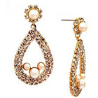 Target Crystal Teardrop Post Back Earring with Pearl Accents - Gold and White