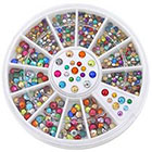Amazon 2mm 3mm Metallic Studs Rivet Flat Back Facet Rhinestones Wheels 3D Nail Art Decorations