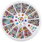 Amazon 2mm 3mm Metallic Studs Rivet Flat Back Facet Rhinestones Wheels 3D Nail Art Decorations