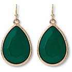 Target Faceted Teardrop Earrings - Green/Gold