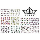 Pueen PUEEN 3D Nail Art Sticker Collection Set E1 - 10 Packs in Different Designs (Over 240 Stickers) 3D Glitter Sparkling Feathers Roses Cats Leopard Prints Nail Art Decal Stickers for Cellphones & Nails Decorations-BH000260