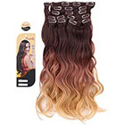 Amazon Creamily #4/10/27 (Dark Brown to Caramel Blonde) 3-tone Ombre Color Wavy Clip in Hair Extensions 8 Pieces 18