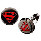 DC Comics DC Comics Superman Stainless Steel Enamel Stud Earrings - Black/Red