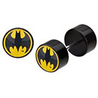 DC Comics DC Comics Batman Logo Acrylic and Stainless Steel Screw Back Earrings - Black