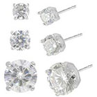 Target Set of 3 Cubic Zirconia Stud Earrings with Gift Box in Sterling Silver - Silver/Clear