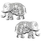 Tressa Collection Cubic Zirconia Elephant Stud Earrings in Sterling Silver