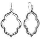 Target Rhodium Artisan Open Cut Design Drop Dangle Earrings - Silver