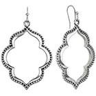 Target Rhodium Artisan Open Cut Design Drop Dangle Earrings - Silver