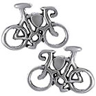 Tressa Collection Bicycle Stud Earrings in Sterling Silver