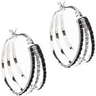 Diamond Sterling Silver Black & White Accent Hoop Earrings