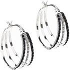 Diamond Sterling Silver Black & White Accent Hoop Earrings