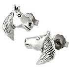 Head Silver Horse Stud Earrings