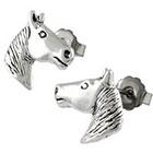 Head Silver Horse Stud Earrings