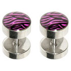 Supreme Jewelry Fake Plug Ear Ring in Pink and Black