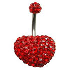 Supreme Jewelry Curved Barbell Belly Ring with Stones in Silver and Red