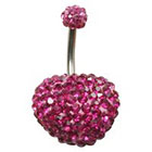 Supreme Jewelry Curved Barbell Belly Ring with Stones in Silver and Pink