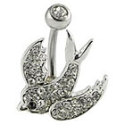 Supreme Jewelry Curved Barbell Belly Ring with Stones in Silver and Clear