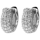 Tressa Collection 3/8 CT. T.W. Tressa Collection Round Cut Cubic Zirconia Pave Set Hoop Earrings - Silver