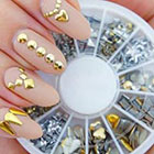 Amazon Professional High Quality Manicure 3D Nail Art Decorations Wheel With Gold And Silver Metal Studs In 12 Different Shapes By VAGA®