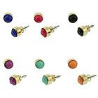 Target Stud Earrings with Acrylic Bezel Set Stones - Gold/Black