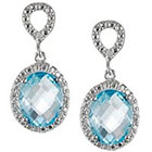Journee Collection 1 2/5 CT. T.W. Tressa Oval Cut Cubic Zirconia Prong Set Dangle Earrings in Sterling Silver - Blue