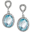 Journee Collection 1 2/5 CT. T.W. Tressa Oval Cut Cubic Zirconia Prong Set Dangle Earrings in Sterling Silver - Blue