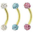 Supreme Jewelry Curved Barbell Eyebrow Ring with Stones in Multicolor