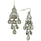 Target Chandelier Earring with Teardrop Stones - Silver/Hematite